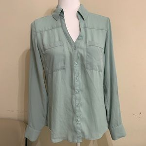 Express | Green Mint casual button down top